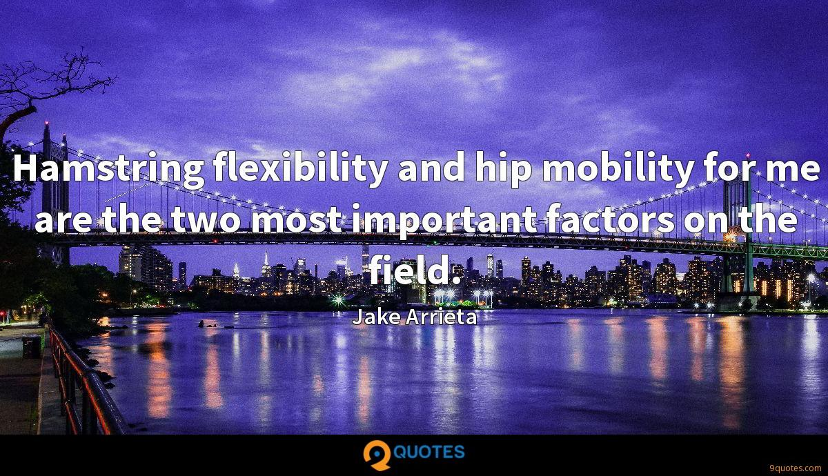 Hamstring flexibility and hip mobility for me are the two most important factors on the field.