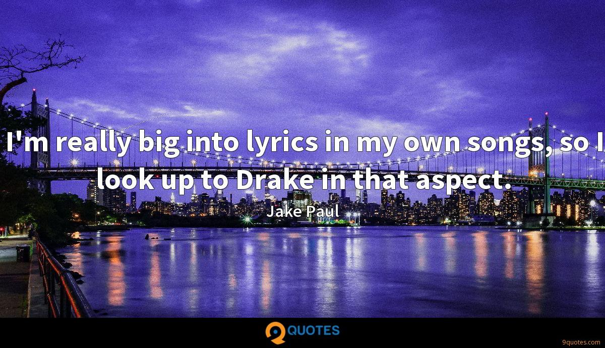 I'm really big into lyrics in my own songs, so I look up to Drake in that aspect.
