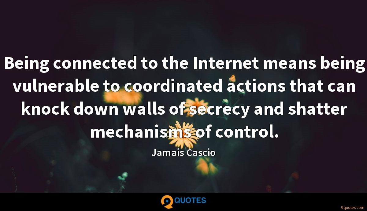 Being connected to the Internet means being vulnerable to coordinated actions that can knock down walls of secrecy and shatter mechanisms of control.