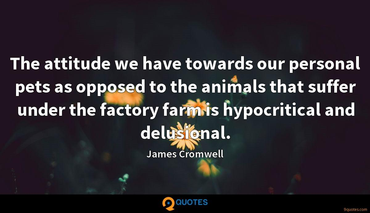 The attitude we have towards our personal pets as opposed to the animals that suffer under the factory farm is hypocritical and delusional.