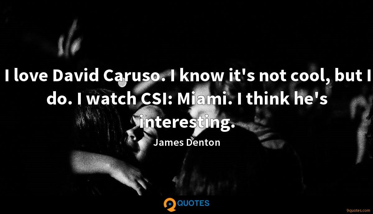 I love David Caruso. I know it's not cool, but I do. I watch CSI: Miami. I think he's interesting.