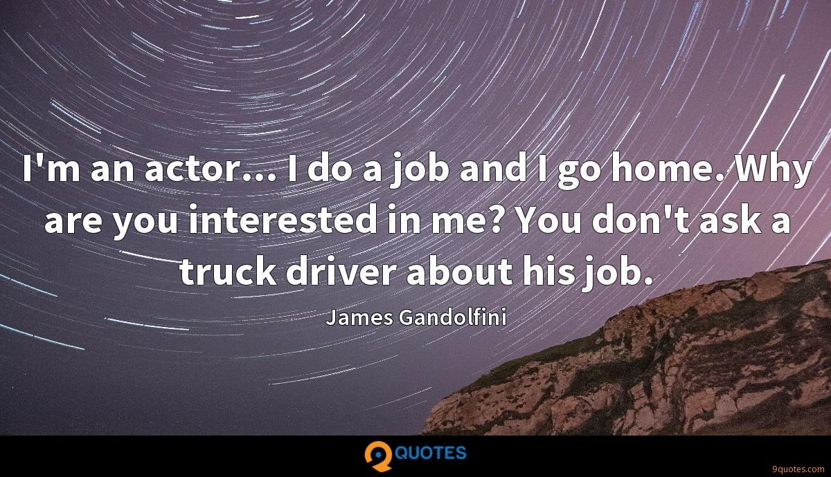 I'm an actor... I do a job and I go home. Why are you interested in me? You don't ask a truck driver about his job.