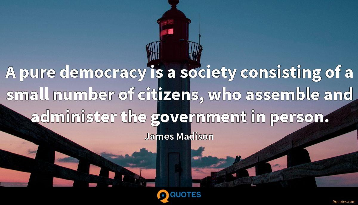 A pure democracy is a society consisting of a small number of citizens, who assemble and administer the government in person.