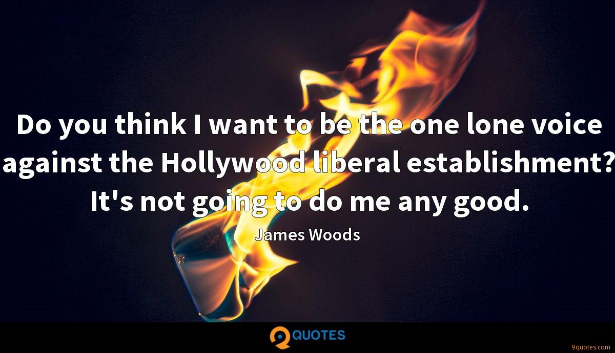 Do you think I want to be the one lone voice against the Hollywood liberal establishment? It's not going to do me any good.