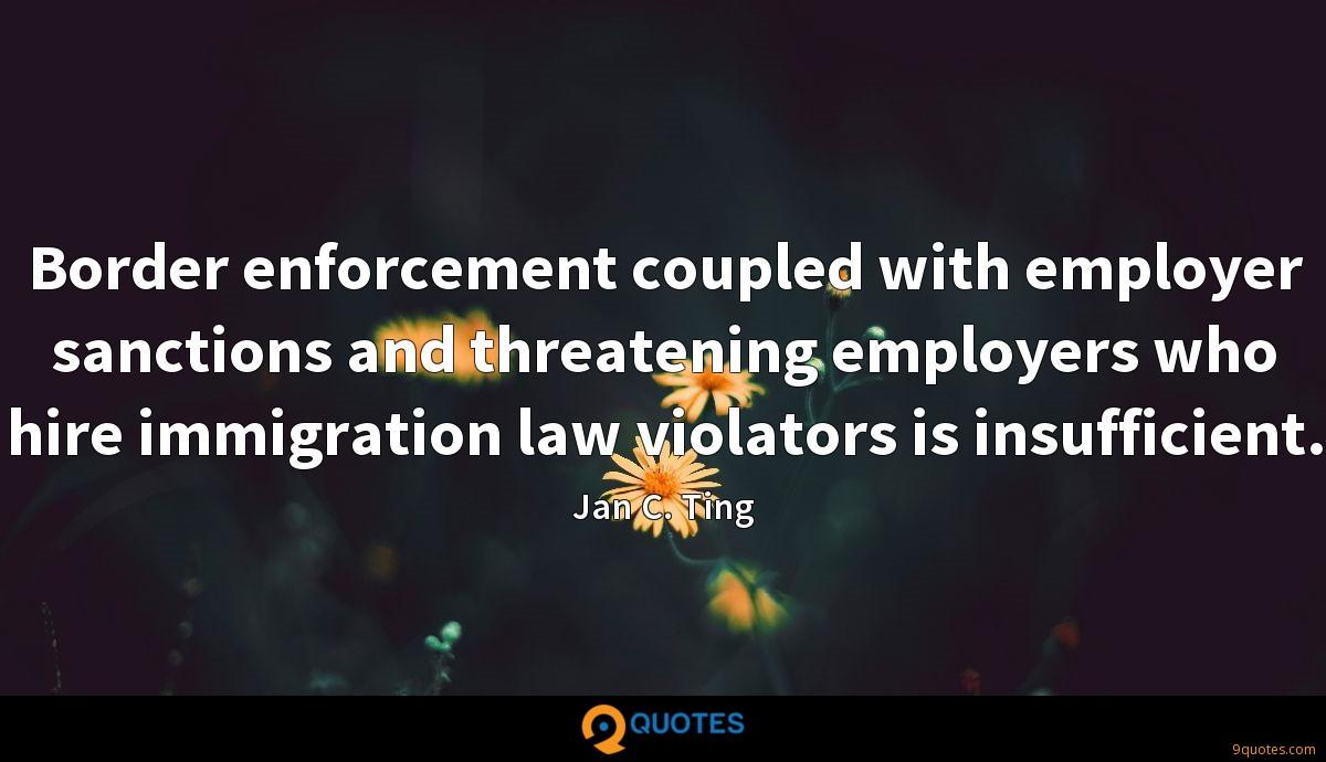 Border enforcement coupled with employer sanctions and threatening employers who hire immigration law violators is insufficient.