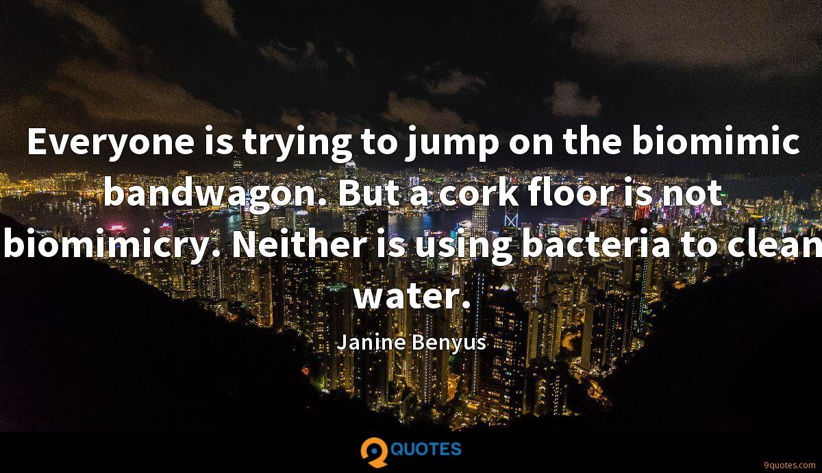 Everyone is trying to jump on the biomimic bandwagon. But a cork floor is not biomimicry. Neither is using bacteria to clean water.