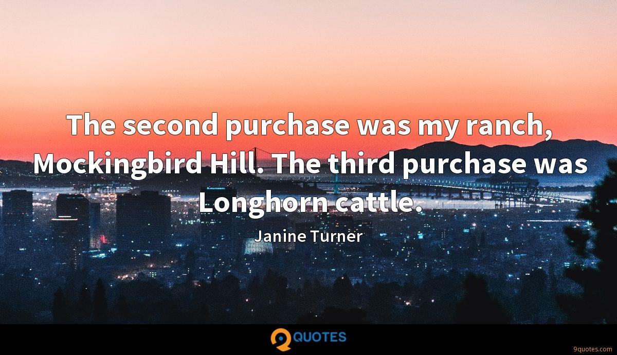 The second purchase was my ranch, Mockingbird Hill. The third purchase was Longhorn cattle.