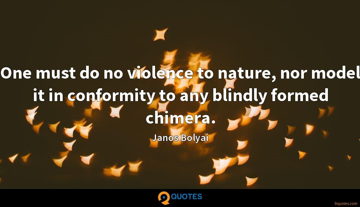 One must do no violence to nature, nor model it in conformity to any blindly formed chimera.