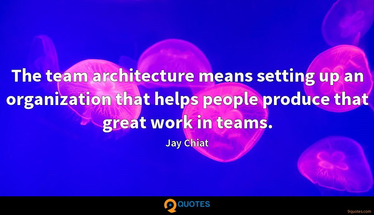 The team architecture means setting up an organization that helps people produce that great work in teams.