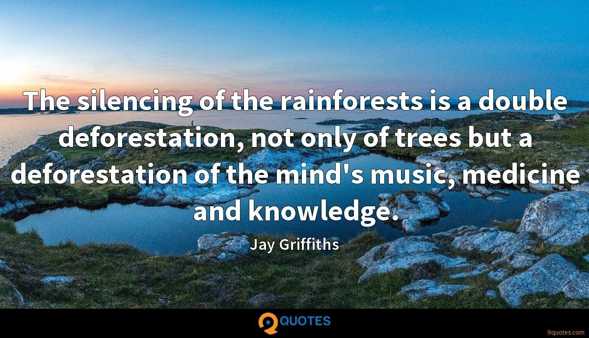 The silencing of the rainforests is a double deforestation, not only of trees but a deforestation of the mind's music, medicine and knowledge.