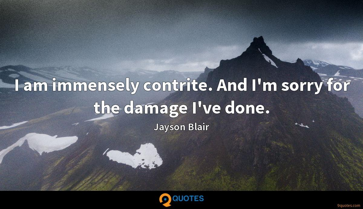 I am immensely contrite. And I'm sorry for the damage I've done.