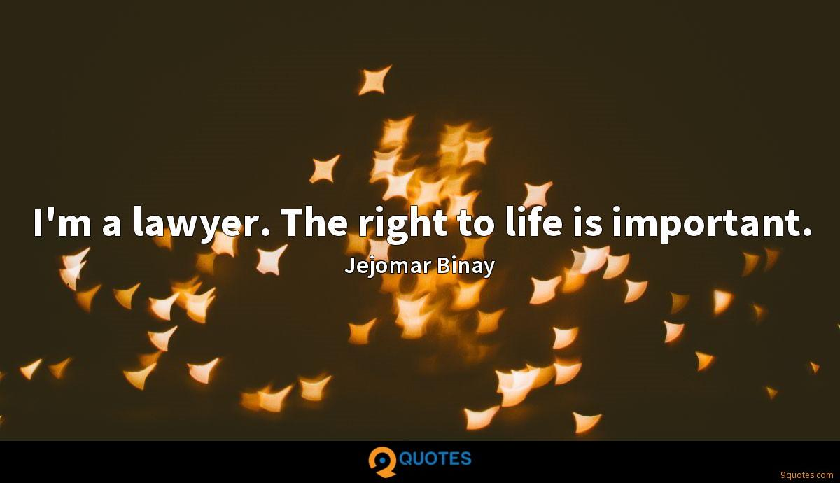 I'm a lawyer. The right to life is important.
