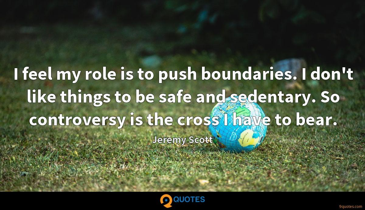 I feel my role is to push boundaries. I don't like things to be safe and sedentary. So controversy is the cross I have to bear.