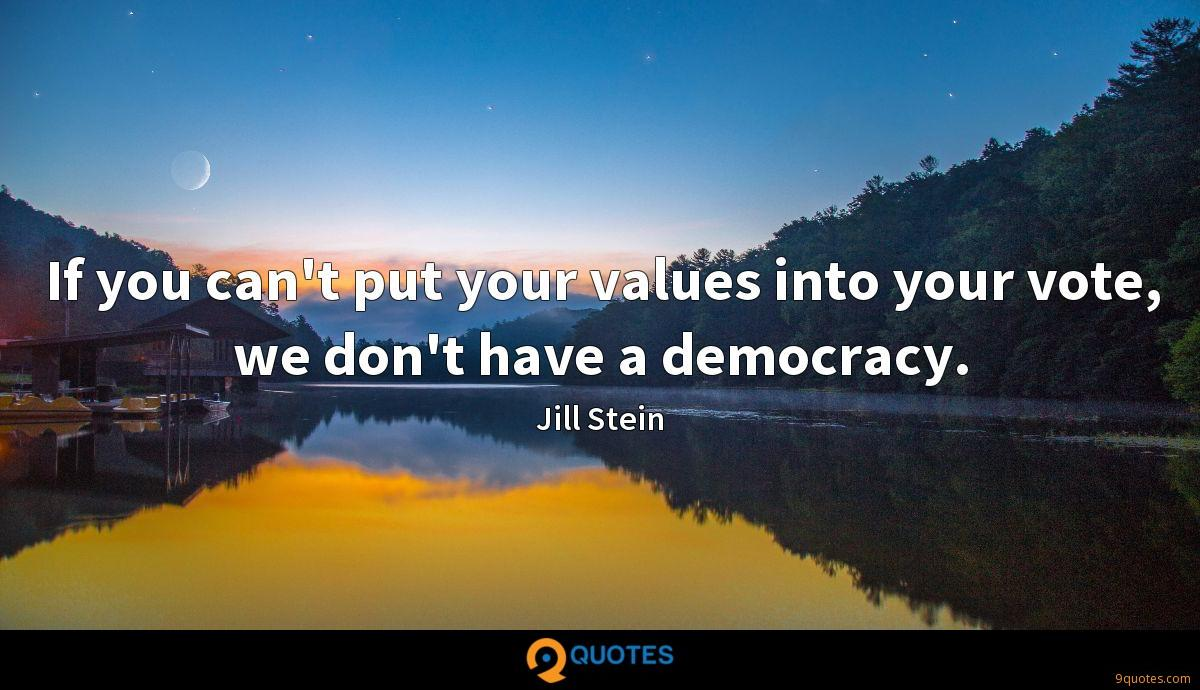 If you can't put your values into your vote, we don't have a democracy.