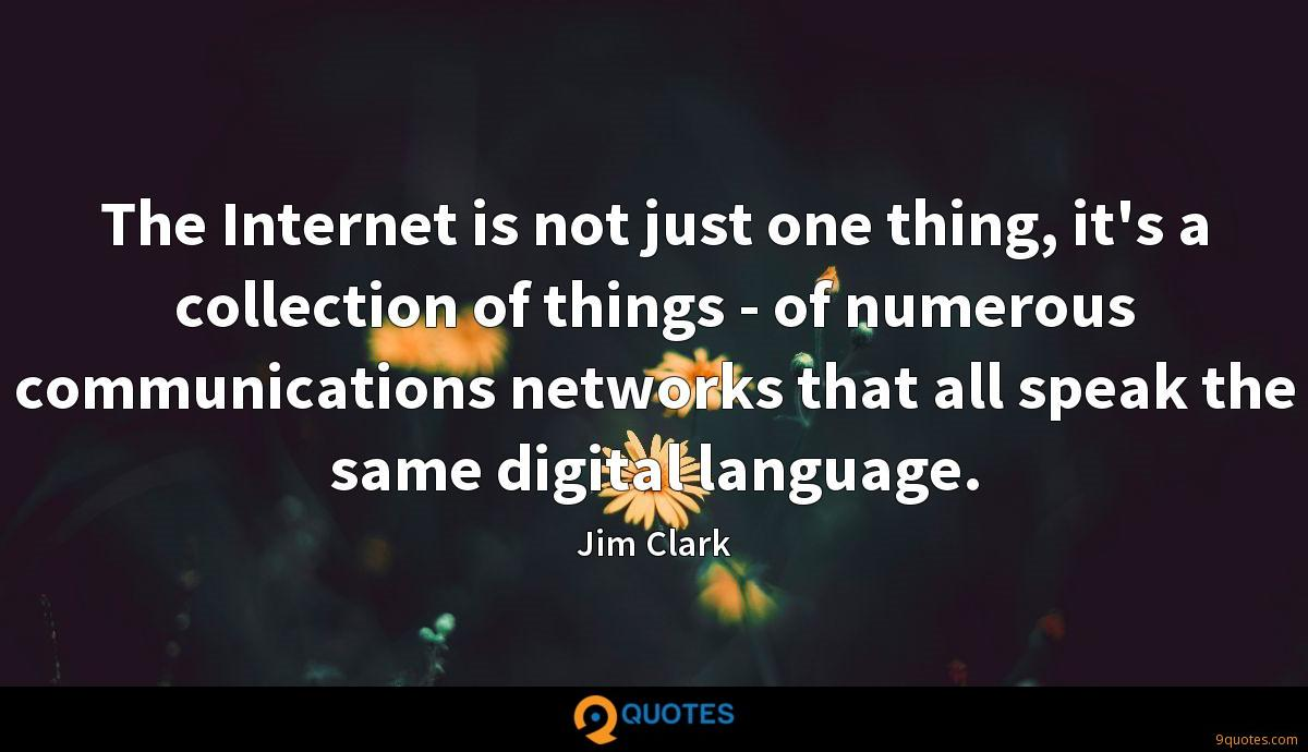 The Internet is not just one thing, it's a collection of things - of numerous communications networks that all speak the same digital language.