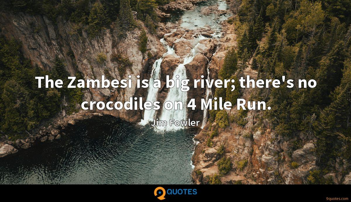 The Zambesi is a big river; there's no crocodiles on 4 Mile Run.