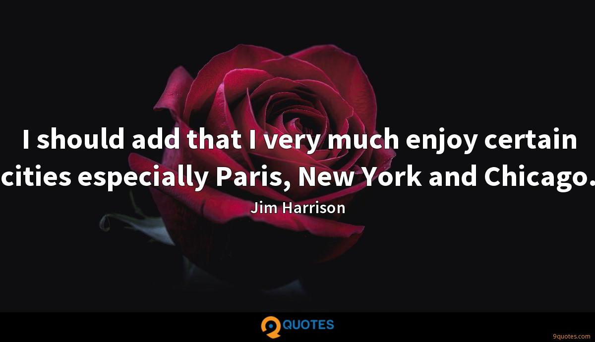 I should add that I very much enjoy certain cities especially Paris, New York and Chicago.