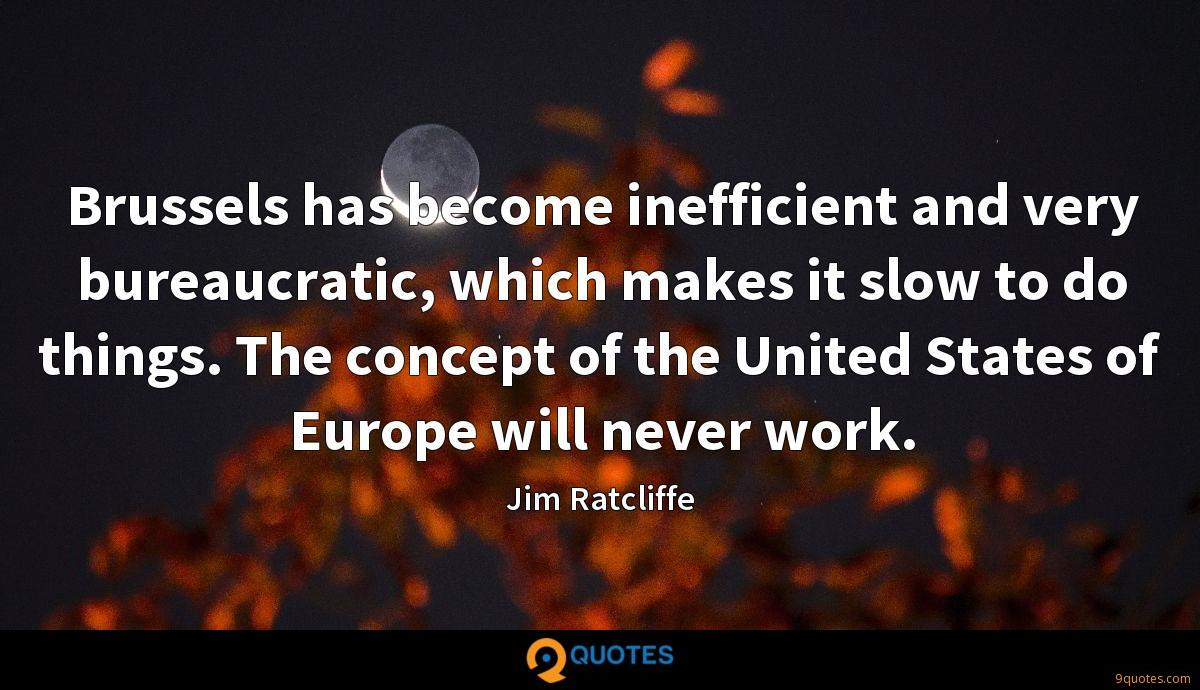 Brussels has become inefficient and very bureaucratic, which makes it slow to do things. The concept of the United States of Europe will never work.