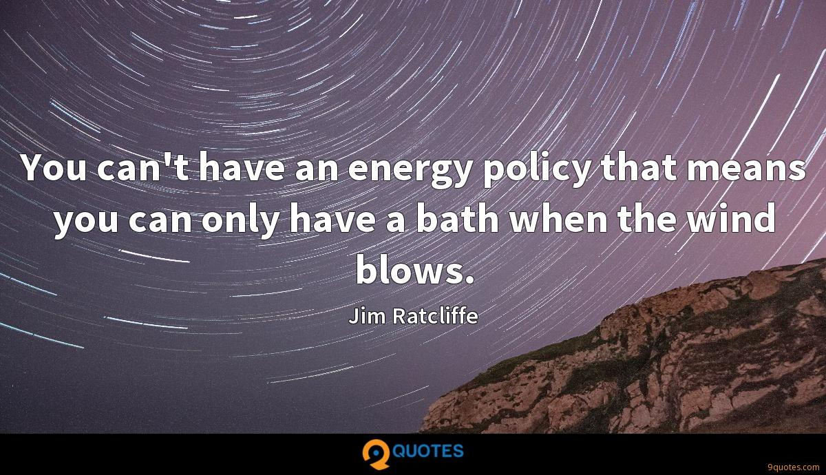 You can't have an energy policy that means you can only have a bath when the wind blows.