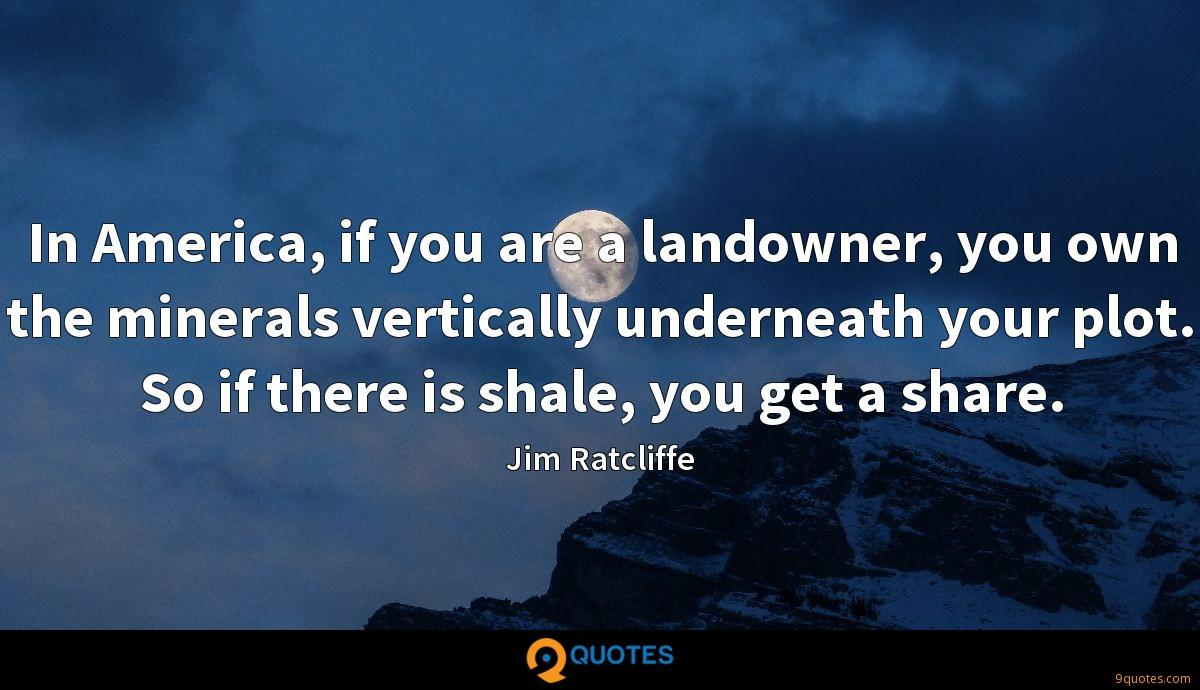 In America, if you are a landowner, you own the minerals vertically underneath your plot. So if there is shale, you get a share.