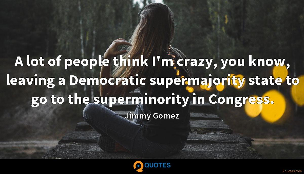 A lot of people think I'm crazy, you know, leaving a Democratic supermajority state to go to the superminority in Congress.