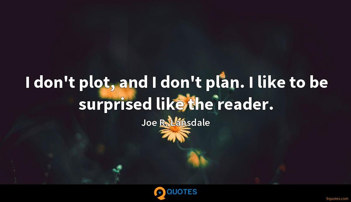 I don't plot, and I don't plan. I like to be surprised like the reader.