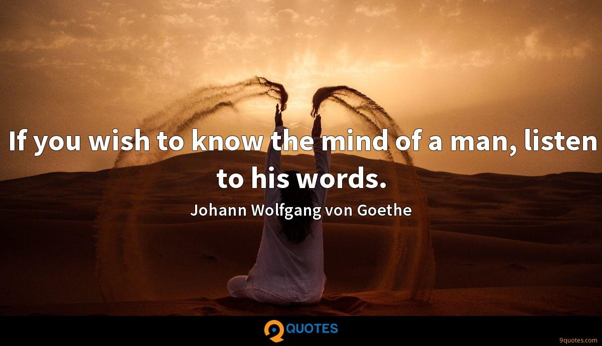 If you wish to know the mind of a man, listen to his words.