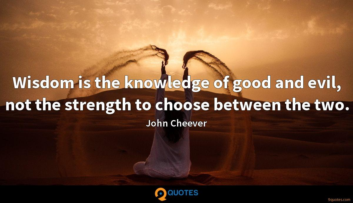 Wisdom is the knowledge of good and evil, not the strength to choose between the two.