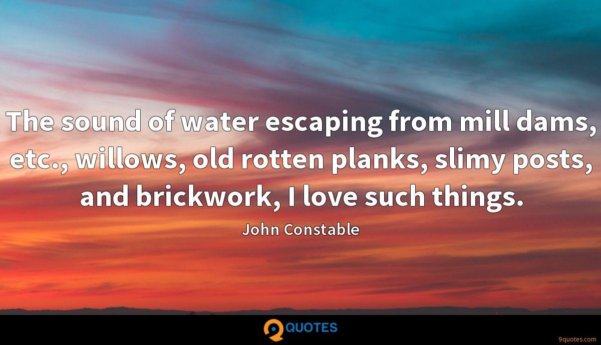 The sound of water escaping from mill dams, etc., willows, old rotten planks, slimy posts, and brickwork, I love such things.