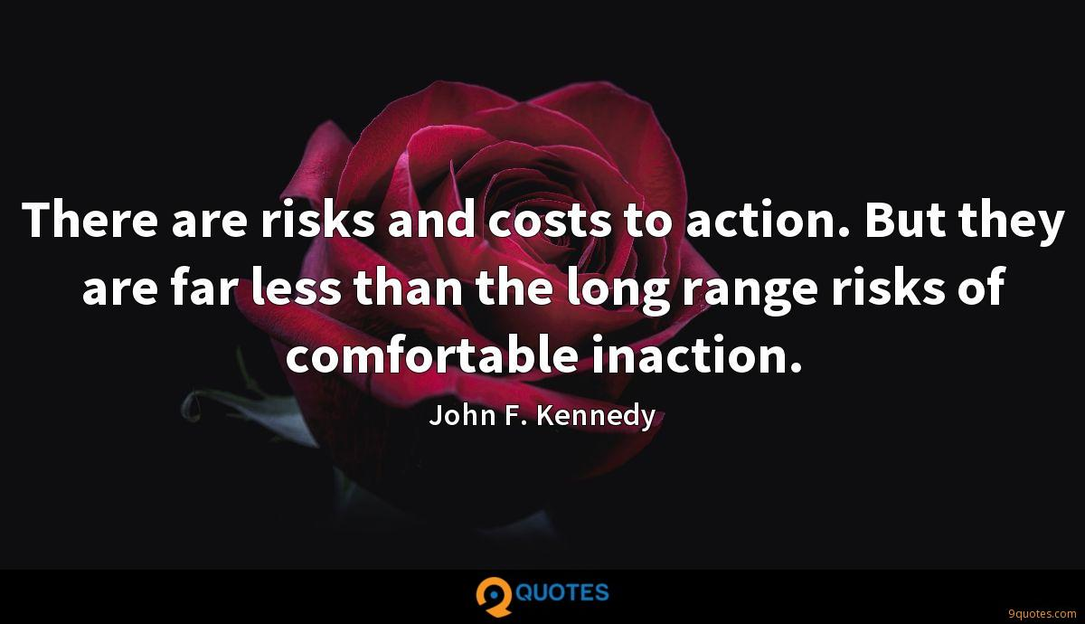 There are risks and costs to action. But they are far less than the long range risks of comfortable inaction.