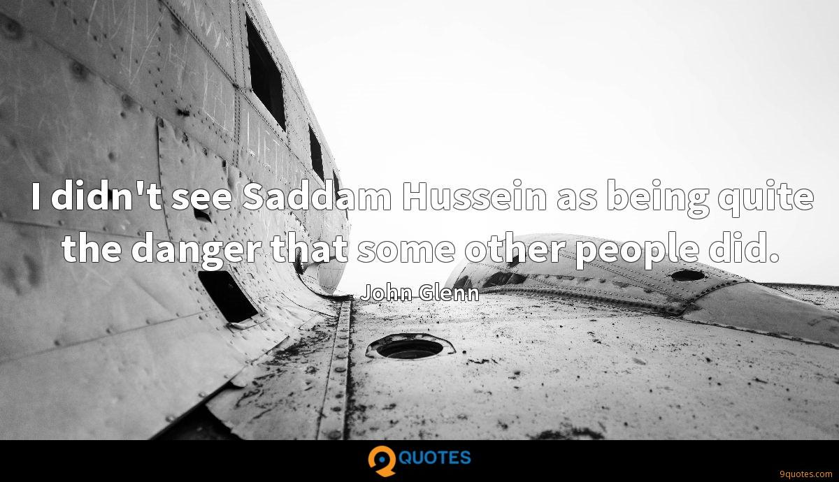 I didn't see Saddam Hussein as being quite the danger that some other people did.