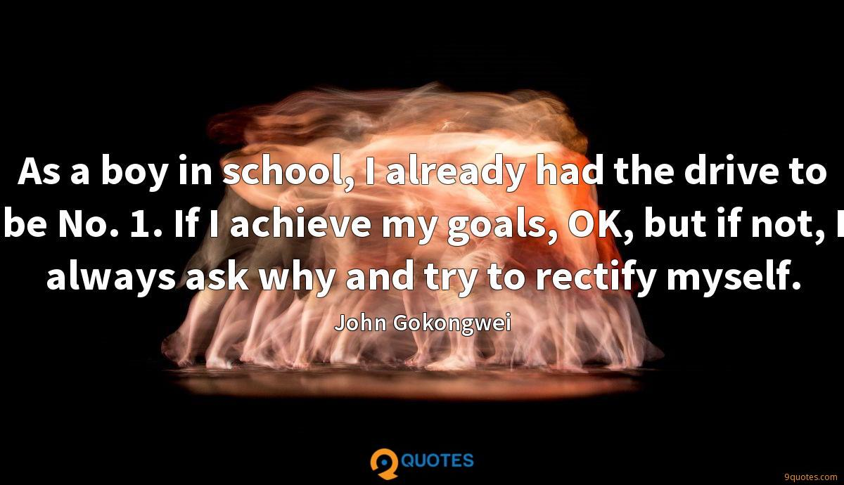 As a boy in school, I already had the drive to be No. 1. If I achieve my goals, OK, but if not, I always ask why and try to rectify myself.