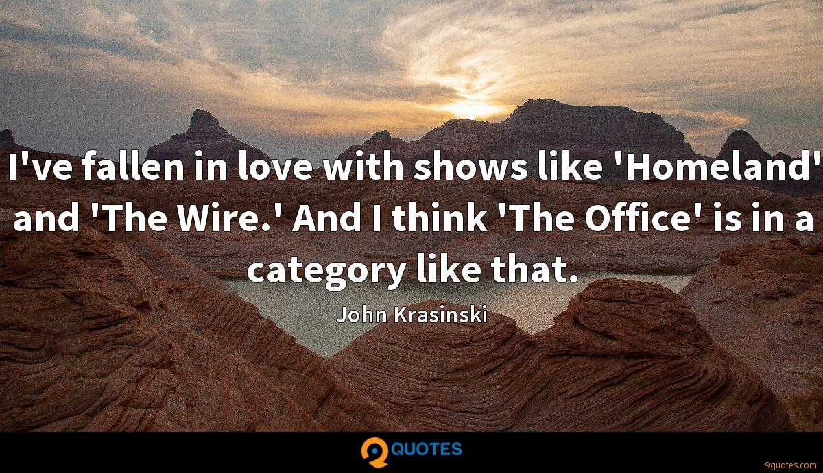 I've fallen in love with shows like 'Homeland' and 'The Wire.' And I think 'The Office' is in a category like that.