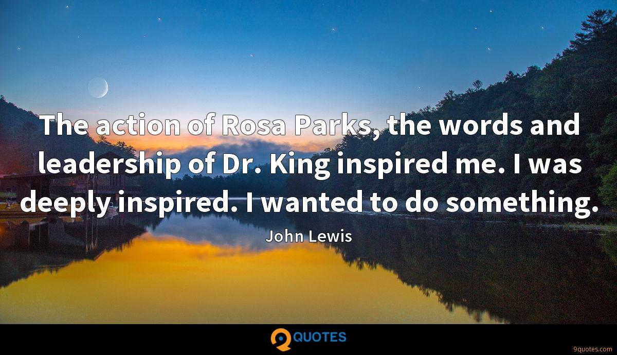 The action of Rosa Parks, the words and leadership of Dr. King inspired me. I was deeply inspired. I wanted to do something.