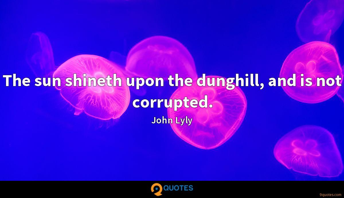 The sun shineth upon the dunghill, and is not corrupted.