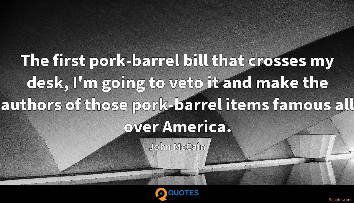 The first pork-barrel bill that crosses my desk, I'm going to veto it and make the authors of those pork-barrel items famous all over America.