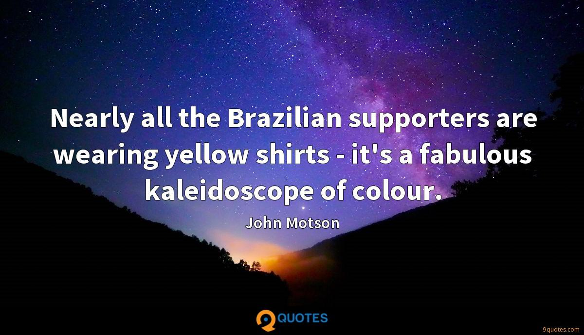 Nearly all the Brazilian supporters are wearing yellow shirts - it's a fabulous kaleidoscope of colour.