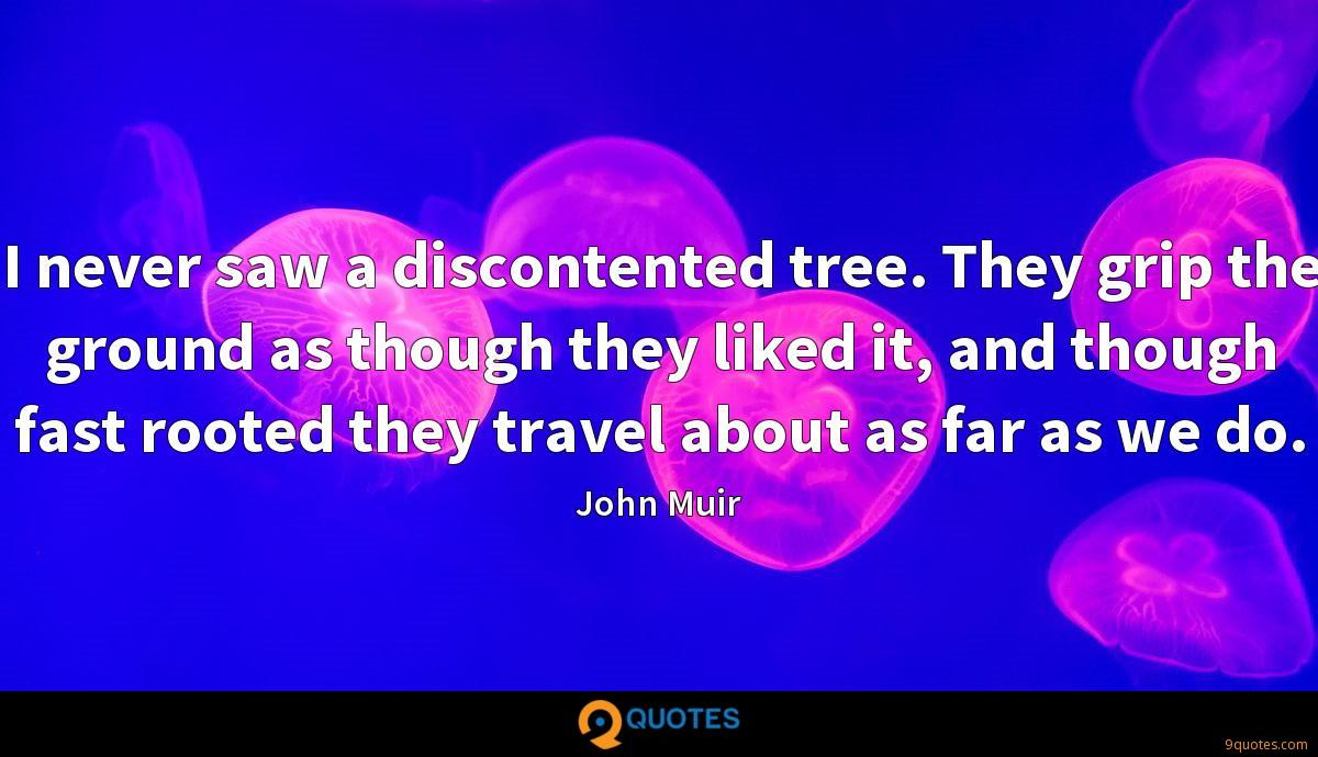 I never saw a discontented tree. They grip the ground as though they liked it, and though fast rooted they travel about as far as we do.