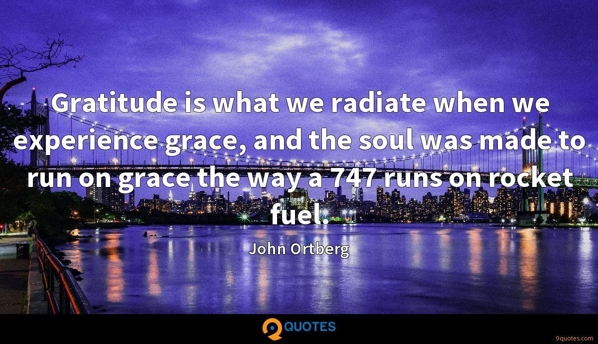 Gratitude is what we radiate when we experience grace, and the soul was made to run on grace the way a 747 runs on rocket fuel.