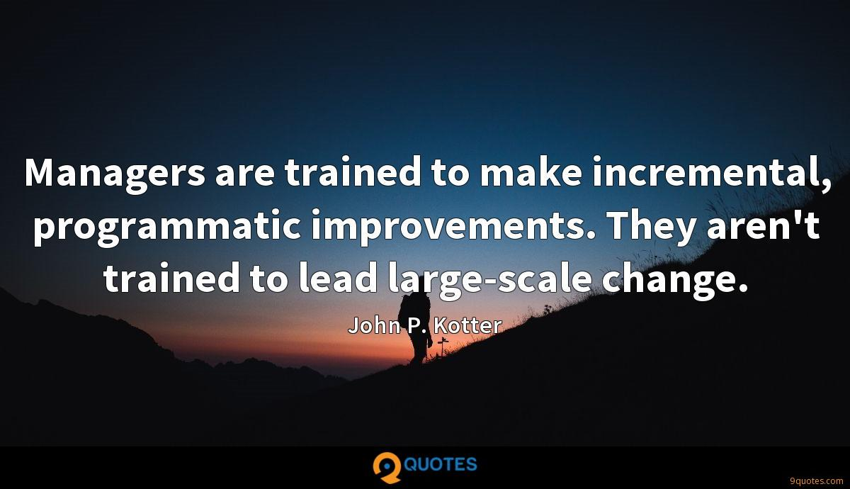 Managers are trained to make incremental, programmatic improvements. They aren't trained to lead large-scale change.