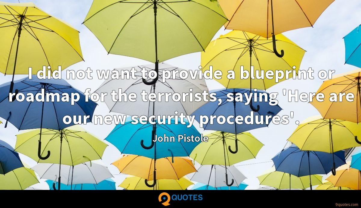 I did not want to provide a blueprint or roadmap for the terrorists, saying 'Here are our new security procedures'.