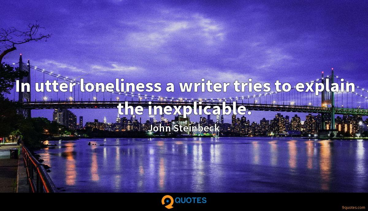 In utter loneliness a writer tries to explain the inexplicable.