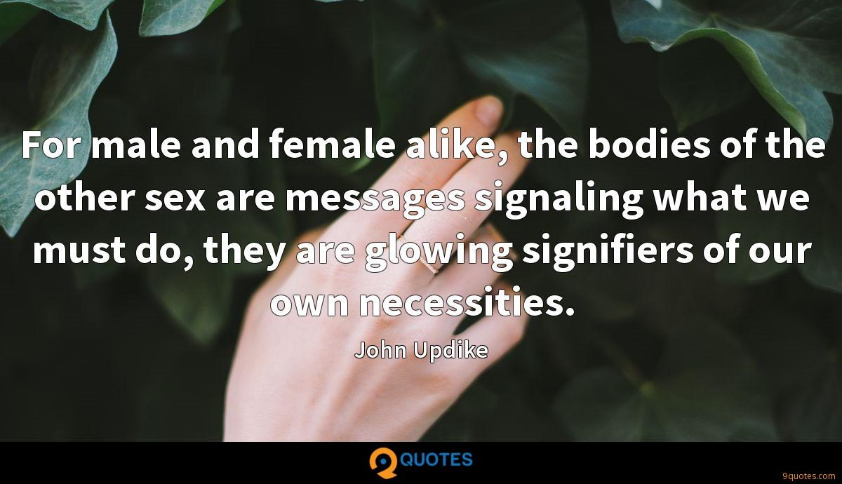 For male and female alike, the bodies of the other sex are messages signaling what we must do, they are glowing signifiers of our own necessities.