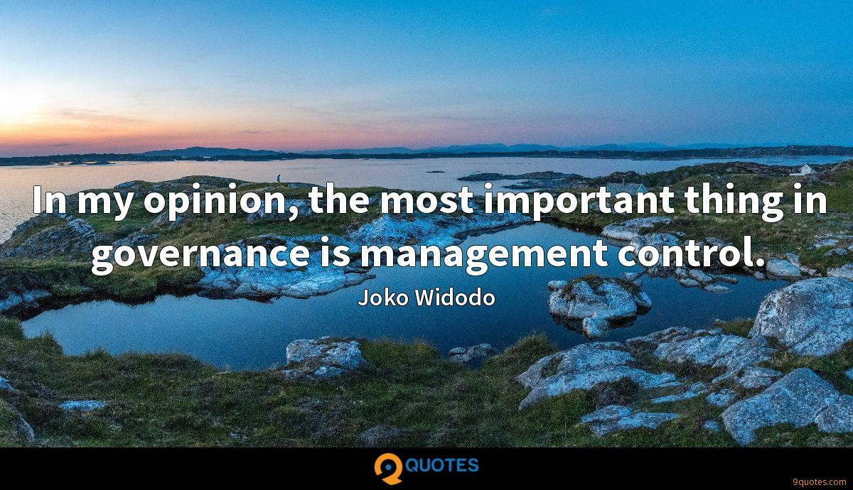 In my opinion, the most important thing in governance is management control.