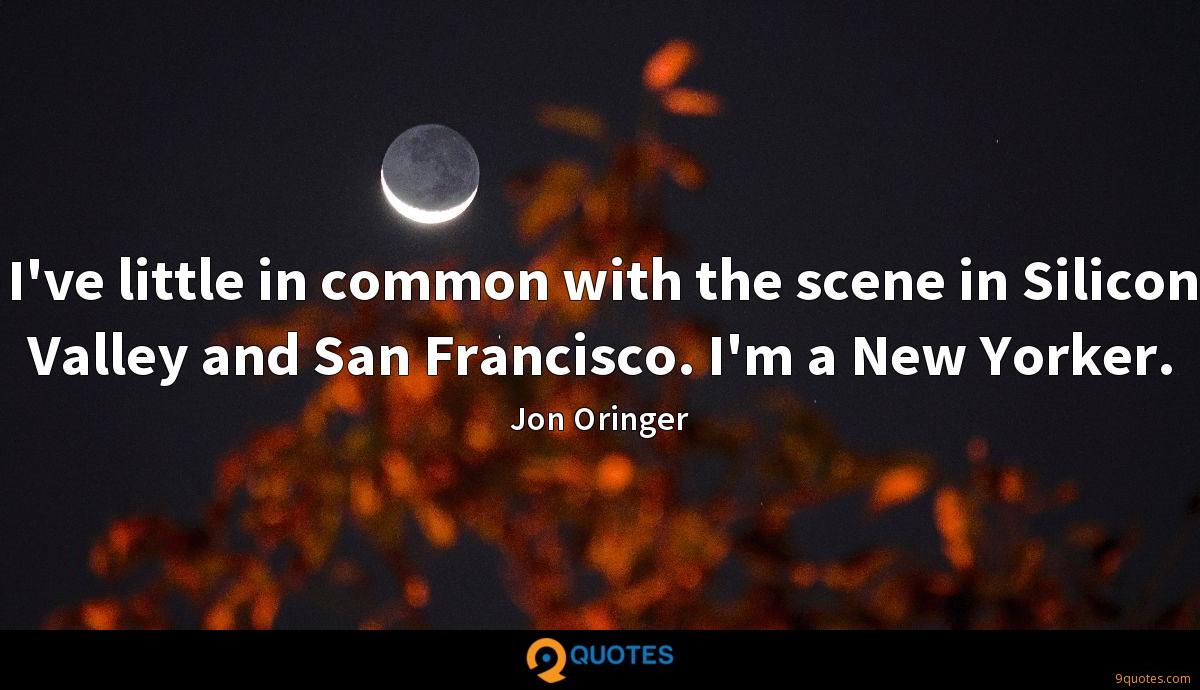 I've little in common with the scene in Silicon Valley and San Francisco. I'm a New Yorker.