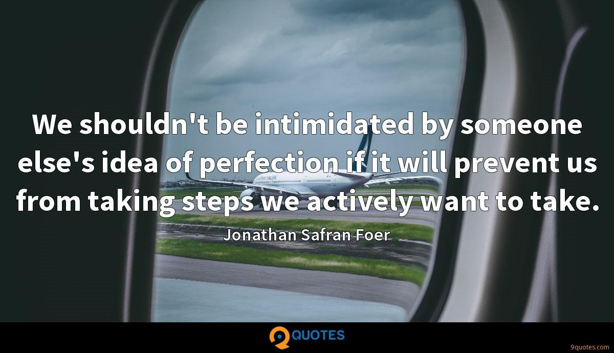 We shouldn't be intimidated by someone else's idea of perfection if it will prevent us from taking steps we actively want to take.