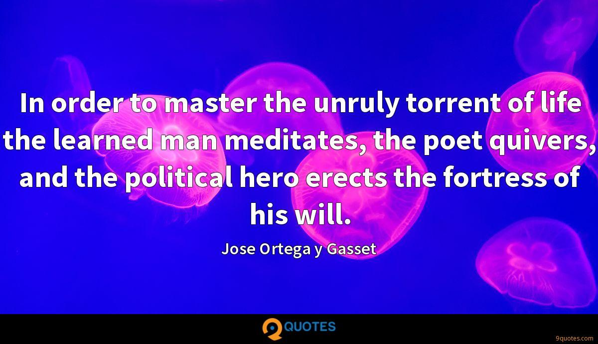 In order to master the unruly torrent of life the learned man meditates, the poet quivers, and the political hero erects the fortress of his will.
