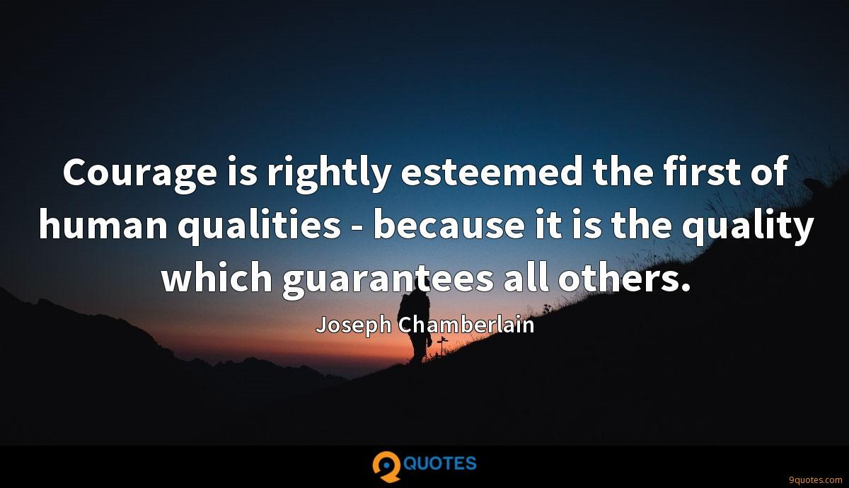 Courage is rightly esteemed the first of human qualities - because it is the quality which guarantees all others.