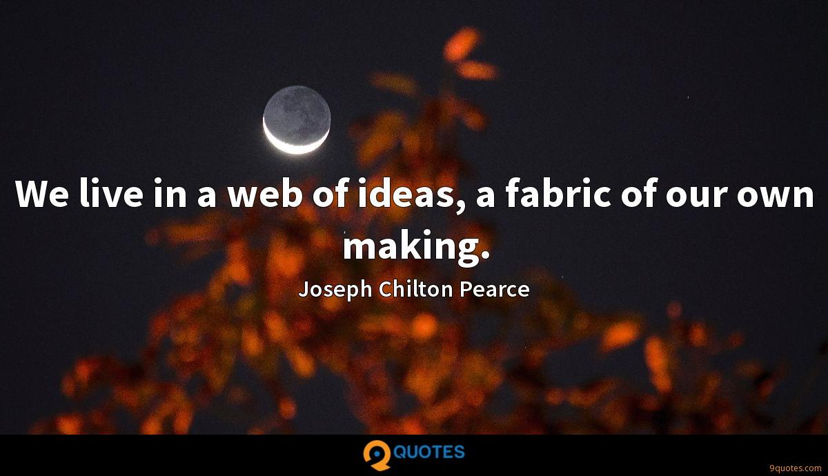 We live in a web of ideas, a fabric of our own making.