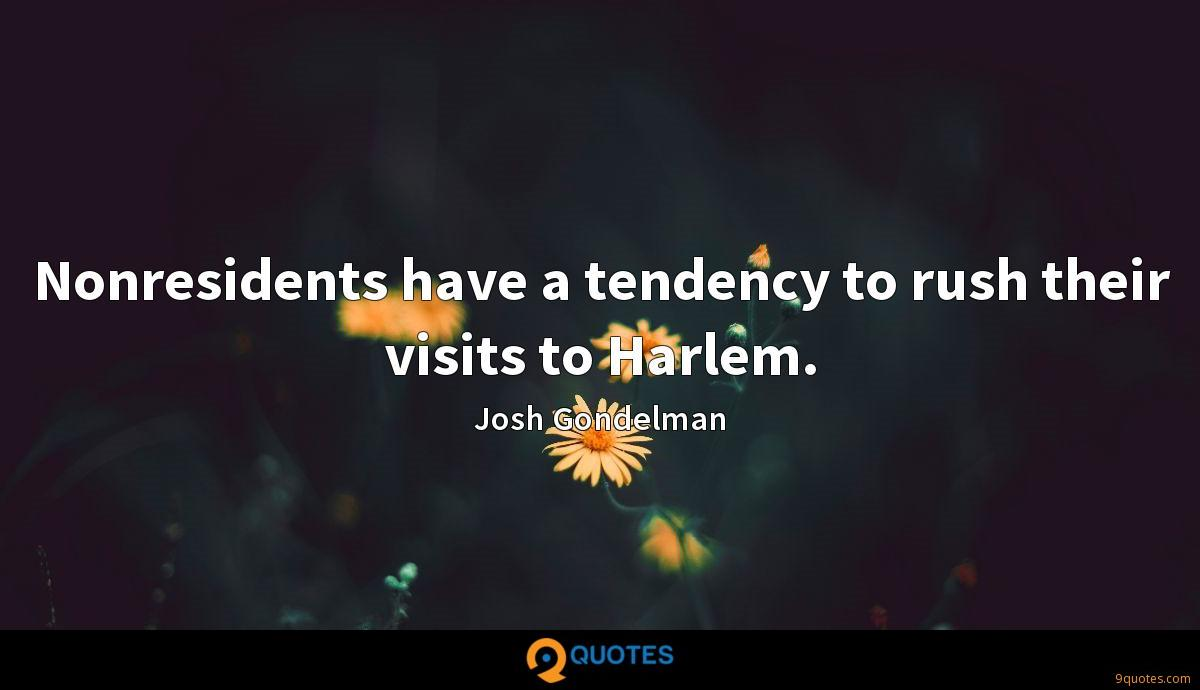 Nonresidents have a tendency to rush their visits to Harlem.